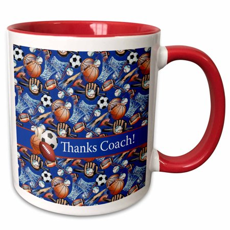 3dRose Thank you Coach, Baseballs, Footballs, Soccer, Gloves, Basketballs - Two Tone Red Mug, 11-ounce ()