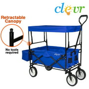 New Clevr Collapsible Folding Outdoor Utility Wagon, Blue Foldable