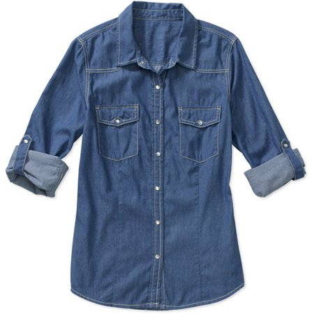 Signature by levi strauss co women 39 s denim shirt for Blue denim shirt for womens