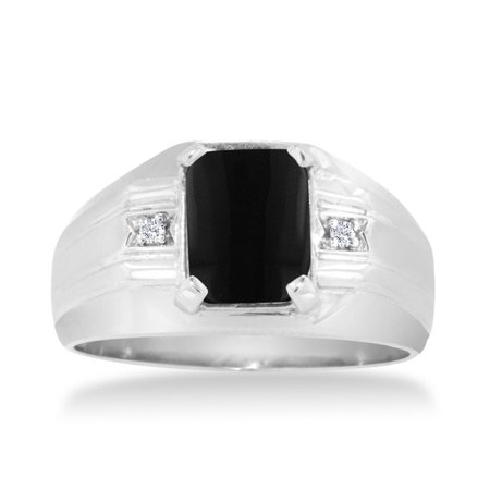 Emerald Cut Black Onyx And Diamond Mens Ring Crafted In Solid 14K White Gold