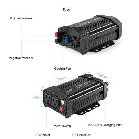 LESHP Car Inverter 300W Solar 12V DC 110V AC Modified Charger Power Converter - image 5 de 7