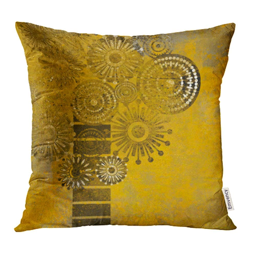 USART Yellow Flower Vintage Autumn Pattern Gold Retro Abstract Ancient Artificial Cartoon Pillowcase Cushion Cover 16x16 inch