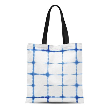 Canvas Indigo Tote (ASHLEIGH Canvas Tote Bag Abstract Tie Dyed of Indigo Color on White Hand Durable Reusable Shopping Shoulder Grocery Bag)