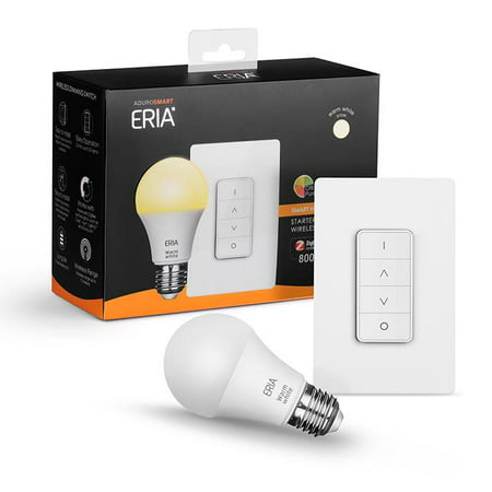 AduroSmart ERIA Soft White Smart Wireless Dimming A19 Starter Kit, 60W Equivalent, Remote Switch Included, 1 Bulbs