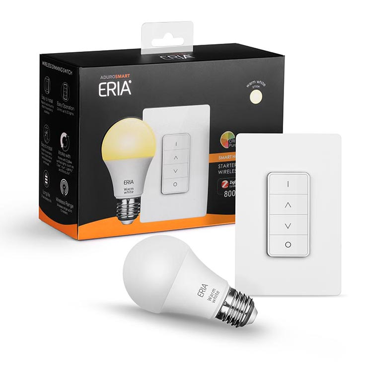 AudroSmart ERIA Soft White Smart Wireless Dimming A19 Starter Kit, 60W Equivalent, Remote Switch Included, 1 Bulbs