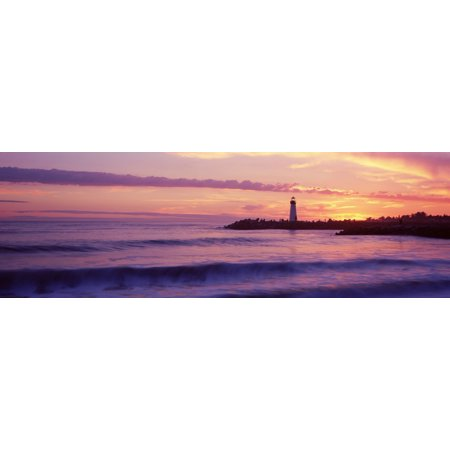 Lighthouse On The Coast At Dusk Walton Lighthouse Santa Cruz California Usa Poster Print