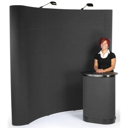 Pop Up Booth Curved 8ft Wall Black Hook Loop Receptive Fabric TEPUVF8B