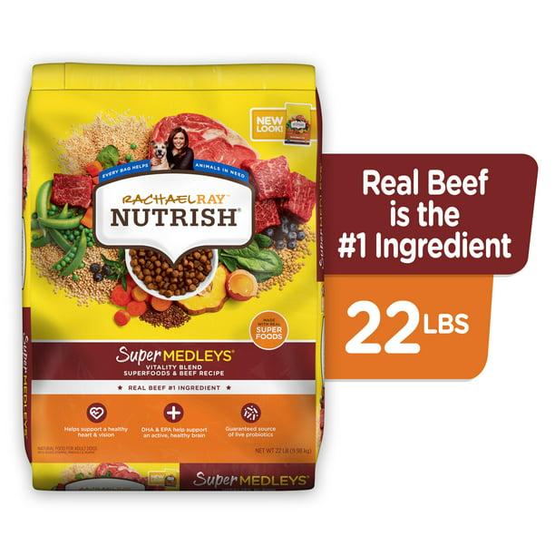 Rachael Ray Nutrish SuperMedleys Vitality Blend Premium Dry Dog Food With Beef, Salmon & Superfoods, 22-Pound Bag