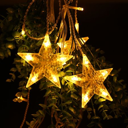 String Lights Big W : Qedertek Christmas Curtain String Lights 138 LED 8.2ft Star Linkable(6 Small 6 Big),Power ...
