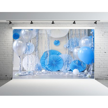 HelloDecor Polyster 7x5ft 1st Birthday Photography Backdrop for Boy Girl White and Blue Balloon Photo Studio