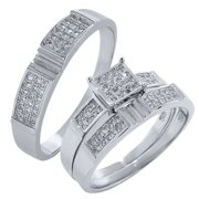 his and hers 3 pieces sterling silver and cz engagement wedding three ring set - Cz Wedding Rings