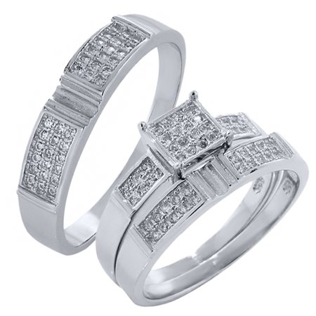 his and hers 3 pieces sterling silver and cz engagement wedding three ring set - Walmart Wedding Ring Sets