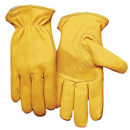 KINCO 198-M Men's Unlined Premium Grain Cowhide Gloves, Medium, Golden (Hides Unlined Gloves)