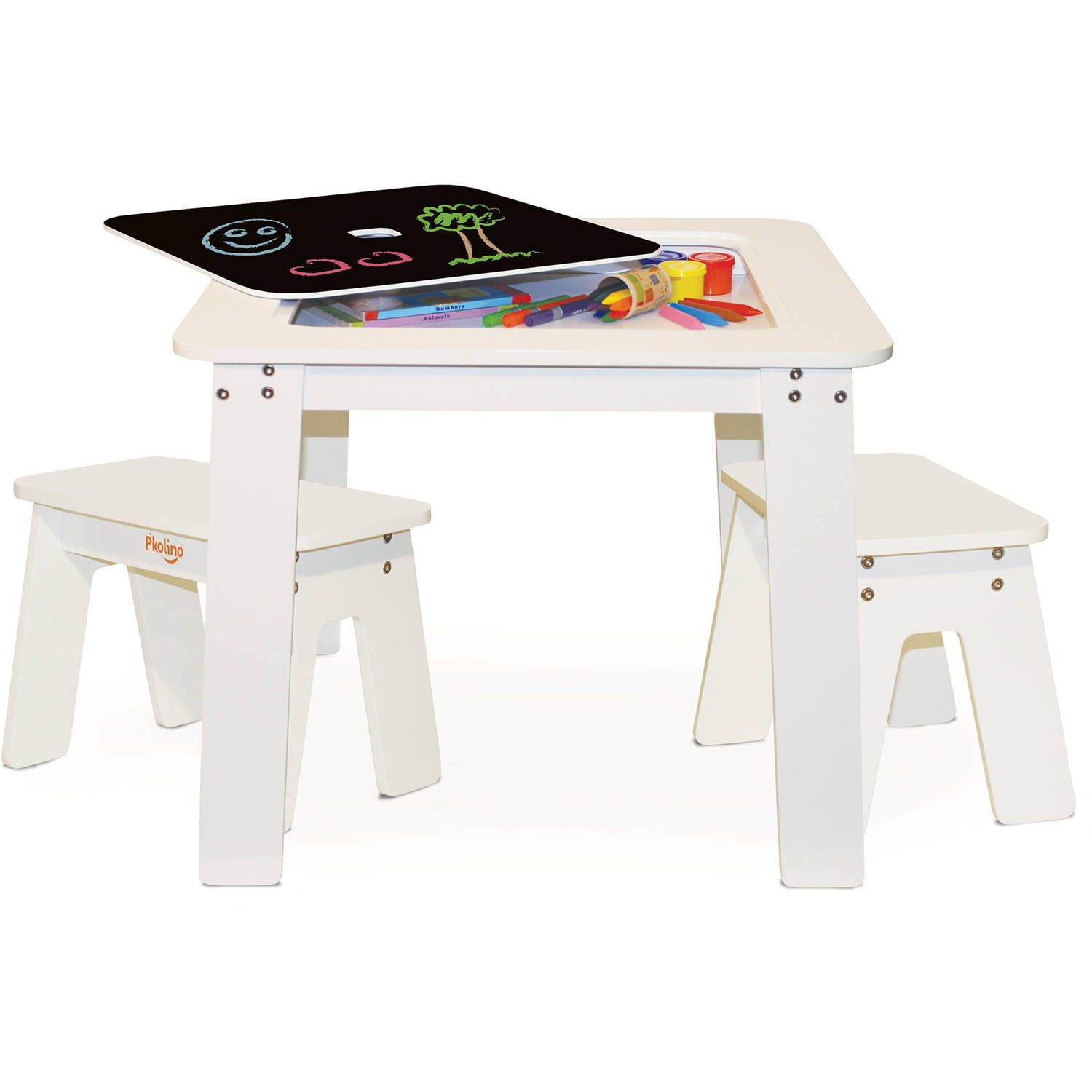P'kolino Kids Chalk Table and Stools Set with Storage, White