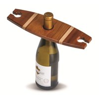 """11.50"""" Walnut Brown Wooden Wine Bottle and 2 Glass Caddy"""