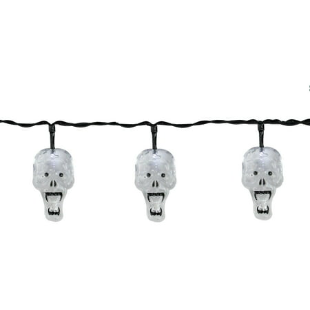 Set of 10 Battery Operated Skull LED Halloween Lights - Black - Halloween Skull Stencils