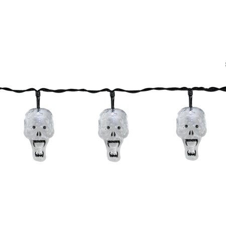 Set of 10 Battery Operated Skull LED Halloween Lights - Black Wire - Halloween Led Skull Candelabra Prop