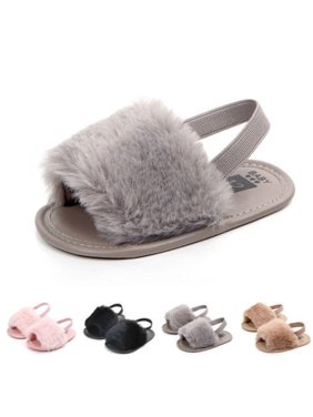 Cute Toddler Baby Girl Princess Fluffy Slippers Crib Shoes