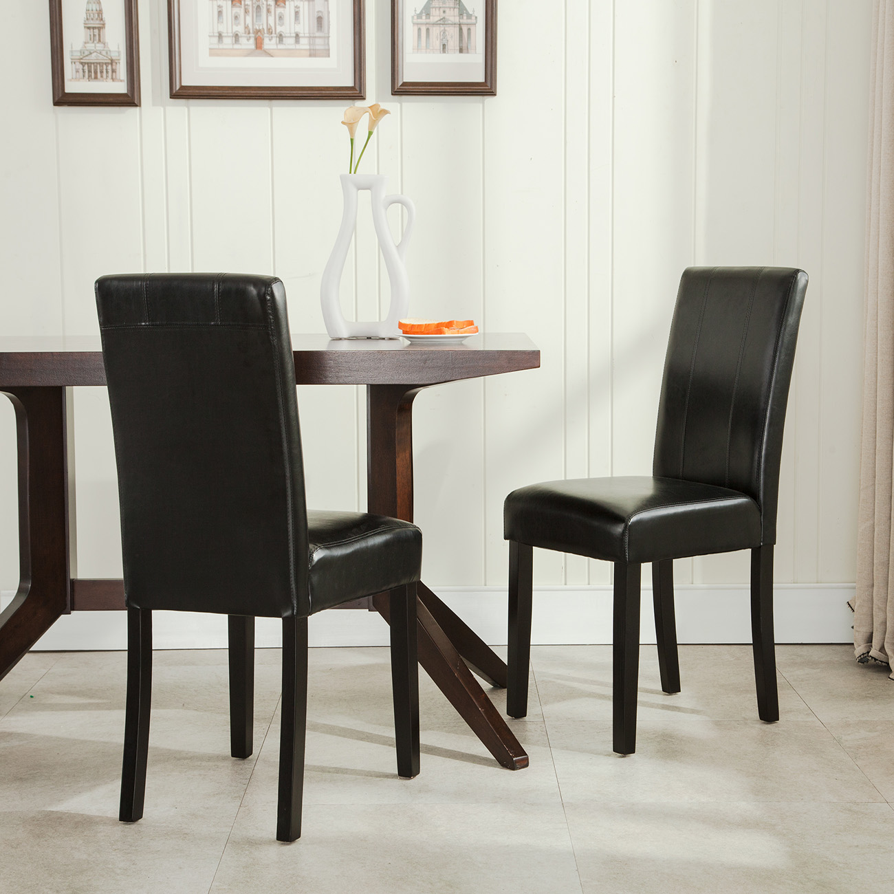 Belleze 2PC Leatherette Black Padded Parson Style Chair Dining Set Furniture, Black