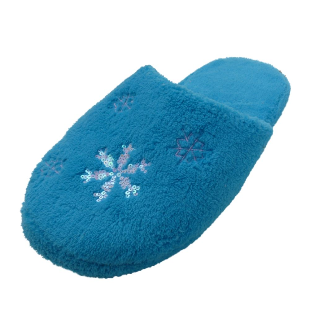 Holiday Womens Blue Snowflake House Slippers Beaded Scuffs