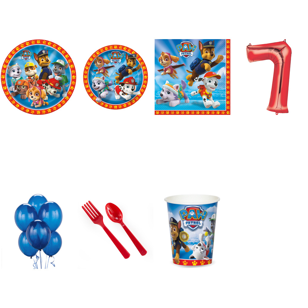 PAW PATROL PARTY SUPPLIES PARTY PACK FOR 32 WITH RED #7 BALLOON