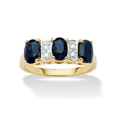 1.80 TCW Oval-Cut Genuine Blue Sapphire and Diamond Accent Ring in 18k Gold Over Sterling Silver Multi Color Sapphire Diamond