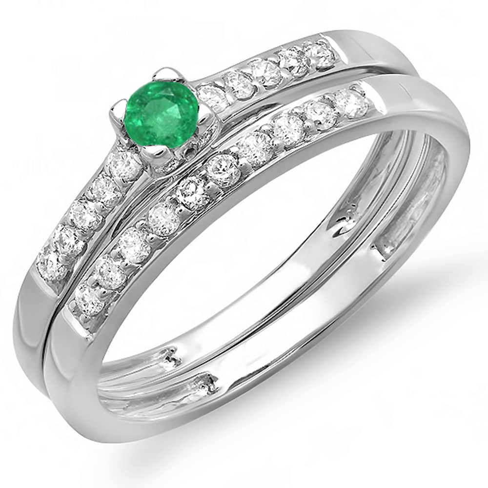 0.40 Carat (ctw) 18k White Gold Round Green Emerald And White Diamond Ladies Bridal Engagement Ring Matching Band Weddin