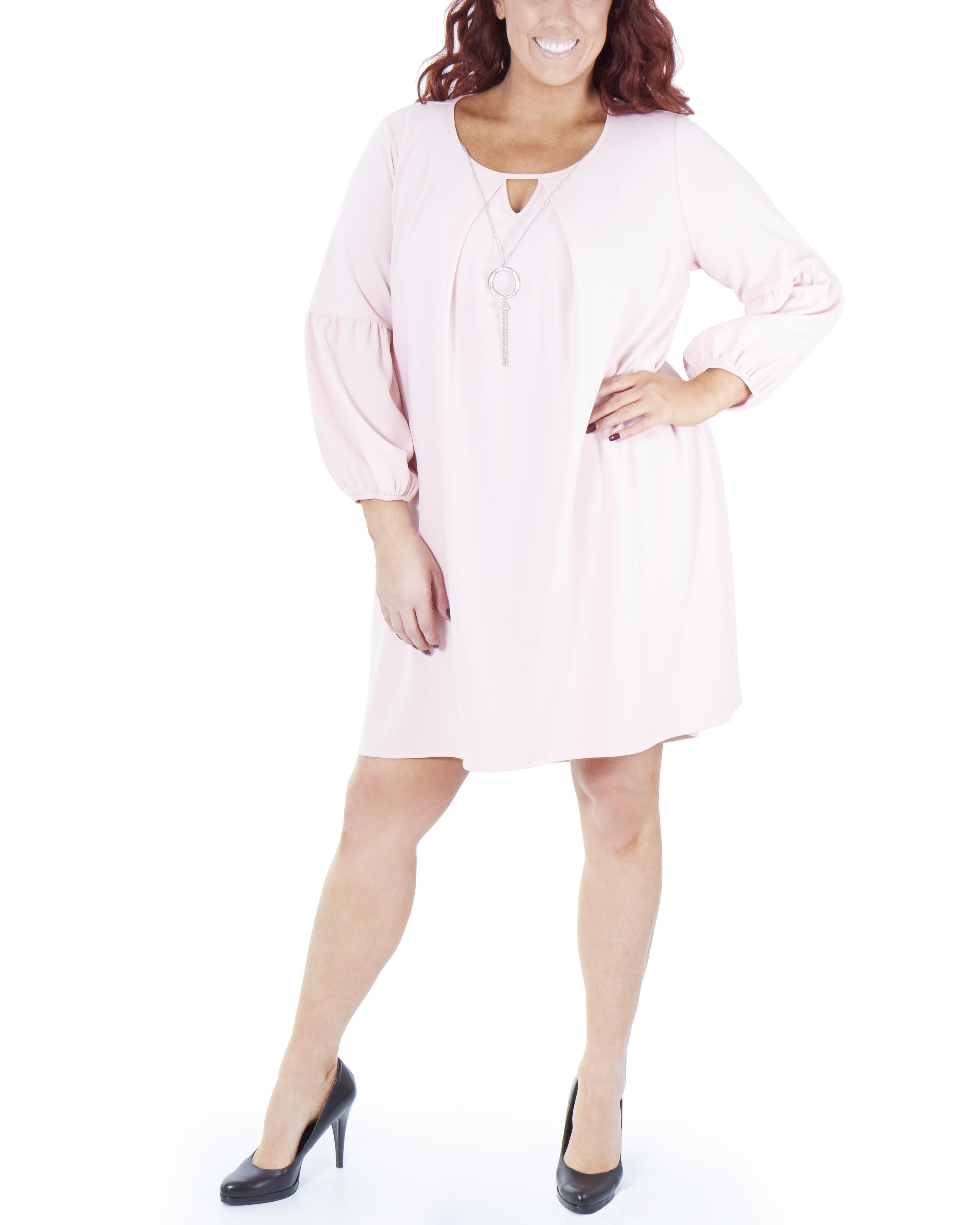 Women\'s Plus Size Long Sleeve High-Low Dress
