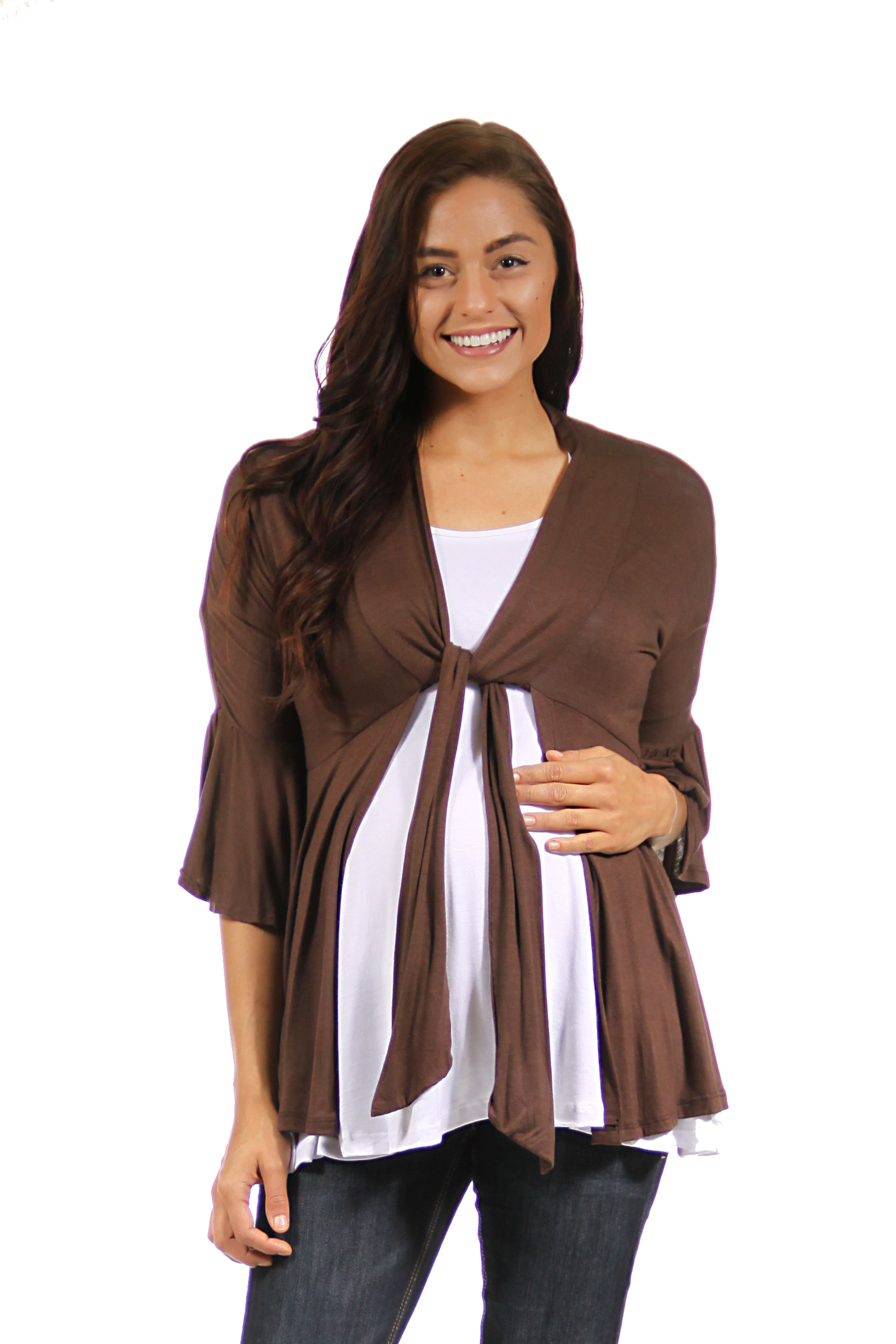 24seven Comfort Apparel Ruffle and Bow Lightweight Maternity Cardigan