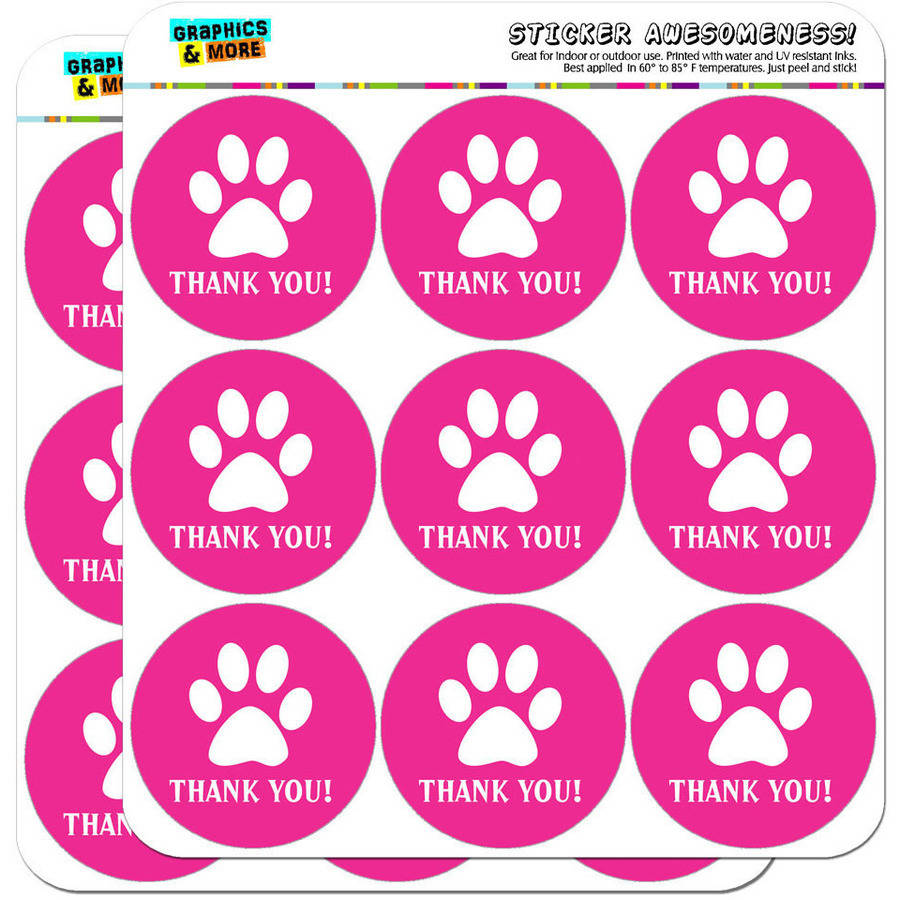 "Thank You Paw Print Pink Birthday Baby Girl 18 2"" Planner Calendar Scrapbooking Crafting Stickers"