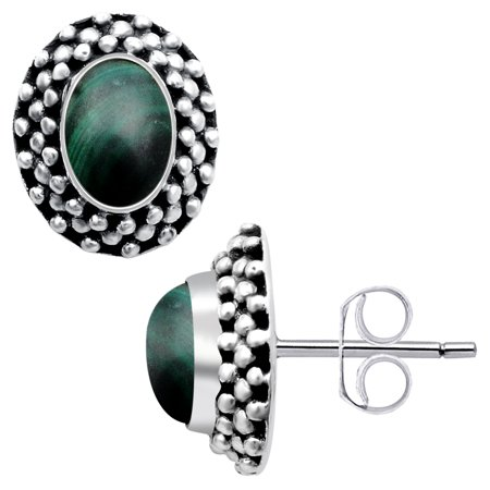 - Orchid Jewelry 2 Carat Malachite 925 Sterling Silver Stud Earrings