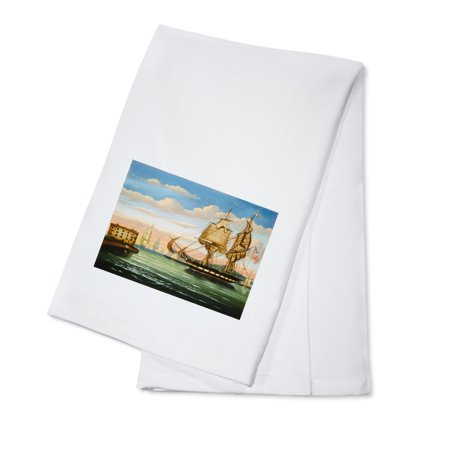- Bay of New York, Sunset - Masterpiece Classic - Artist: Thomas Chambers c. 1800s (100% Cotton Kitchen Towel)