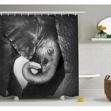Elephants Decor Shower Curtain Set, Baby Elephant Seeking Comfort ...