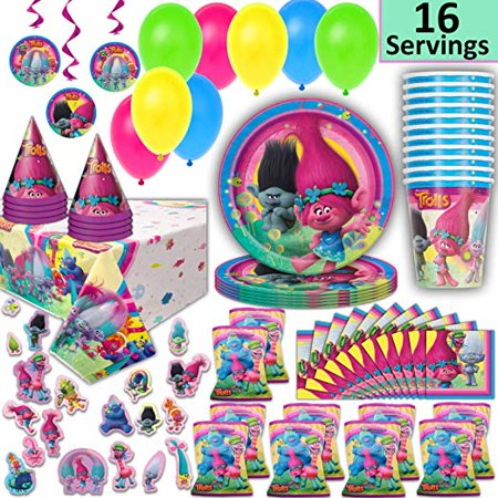 Trolls Party Supplies for 16 - Plates, Cups, Napkins, Loot Bags, Tablecloth, Hats, Balloons, Hanging Decorations, Stickers - Decorations, Favors, Tableware (Halloween Loot Bags Ideas)