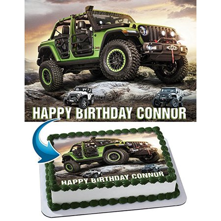 Jeep Wrangler Off Road Edible Image Cake Topper Personalized Icing Sugar Paper A4 Sheet Edible Frosting Photo Cake 1/4 Edible Image for cake