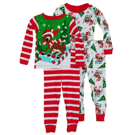 Rudolph The Red Nosed Reindeer Toddler Boys 4pc Snow Sledding Xmas Pajama - Rudolph The Red Nosed Reindeer Costume Child