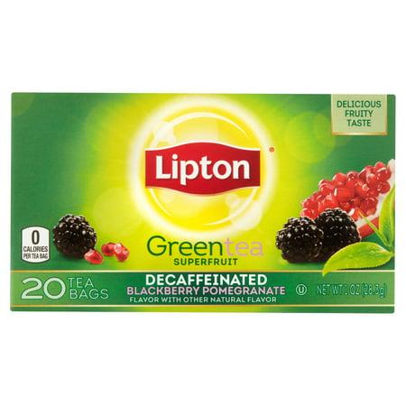 Lipton Superfruit Decaffeinated Blackberry Pomegranate Green Tea Bags  20 Count  1 Oz