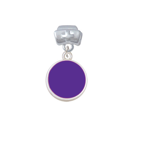 Small Purple Enamel Disc - Nurse Hat Charm Bead
