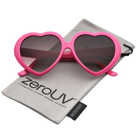 zerouv - women's oversize gradient lens heart sunglasses 56mm - (Gradient Clip On Sunshade Amber)