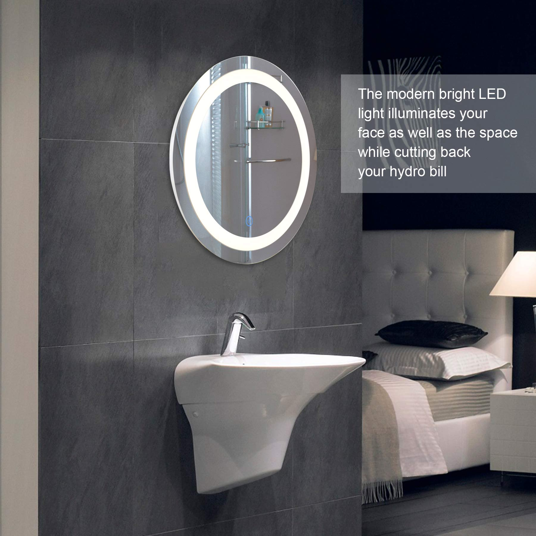 Round Led Wall Mounted Bathroom Mirror With Dimmable Touch Dimmer