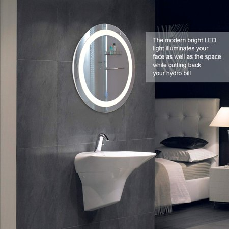 round led wall mounted bathroom mirror with dimmable touch dimmer makeup vanity mirror with lights - Bathroom Mirror With Lights