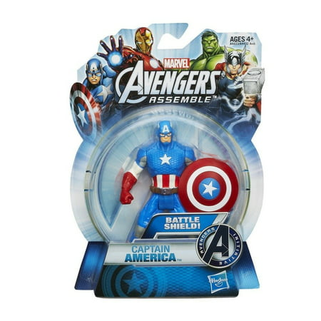 Marvel Figurine (Marvel The Avengers Assemble Captain America 4 Inch Action Figurine, Officially Licensed By Hasbro Ship from US)