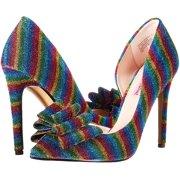 Betsey Johnson Women's Prince-P Pointed Toe Pump Rainbow Glitter High Stiletto