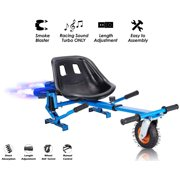 """Blue Upgrade Hoverboard Go Kart Seat Attachment With Fog Blaster & LED Lights, Buggy, Conversion Kit, Hoverboard Go Cart Accessories, Heavy Duty Frame, Fun for Kids Fits 6.5""""/8""""/10"""""""