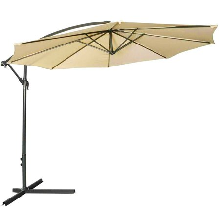 10-Foot Hanging Patio Umbrella w/ Cross Base Outdoor Patio Umbrella Khaki