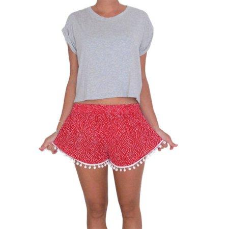 MarinaVida Women's Summer Sexy Pom-Pom High Waist Beach Shorts Hot Pants