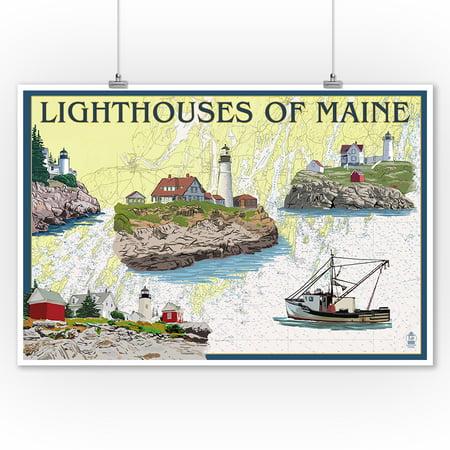 Lighthouses of Maine - Nautical Chart - Lantern Press Artwork (9x12 Art Print, Wall Decor Travel Poster) ()