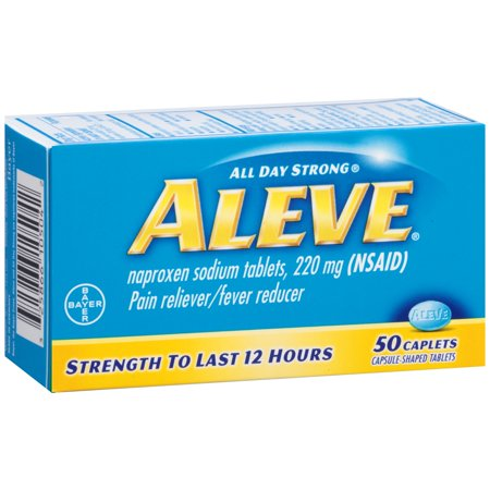 Image of Aleve Caplets with Naproxen Sodium, 220mg (NSAID) Pain Reliever/Fever Reducer, 50 Count