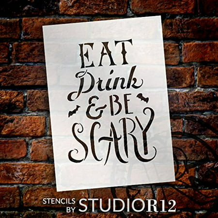 Hand Drawn Eat, Drink, and Be Scary Halloween Stencil - 12