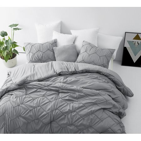 BYB Textured Waves Oversized Comforter - Supersoft Gray ()